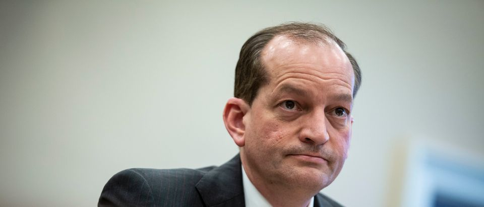 WASHINGTON, DC - APRIL 03: Labor Secretary Alexander Acosta testifies during a House Appropriations Committee hearing on the Labor Budget for Fiscal Year 2020, on Capitol Hill on April 3, 2019 in Washington, DC. (Photo by Al Drago/Getty Images)