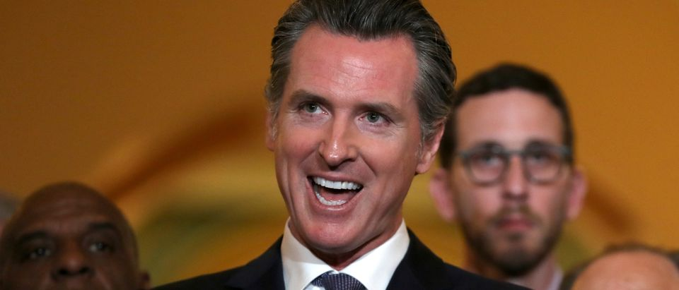 California Gov. Gavin Newsom speaks during a news conference at the California State Capitol on March 13, 2019 in Sacramento, California. (Justin Sullivan/Getty Images)