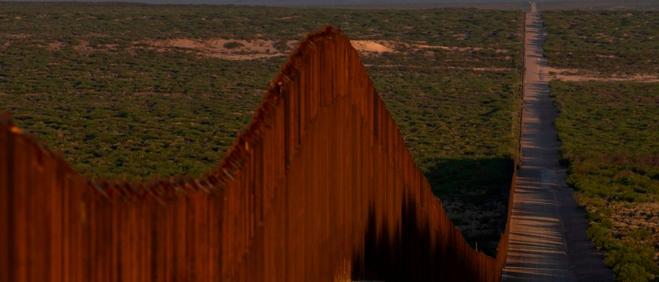 "Recently-installed ""Bollard"" style fencing is pictured on the US-Mexico border near Santa Teresa, New Mexico, on April 30, 2019. (PAUL RATJE/AFP/Getty Images)"