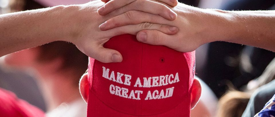 MONTOURSVILLE, PA - MAY 20: A man wears a 'Make America Great Again' hat as he waits for U.S. President Donald Trump to arrive for a 'Make America Great Again' campaign rally at Williamsport Regional Airport, May 20, 2019 in Montoursville, Pennsylvania. Trump is making a trip to the swing state to drum up Republican support on the eve of a special election in Pennsylvania's 12th congressional district, with Republican Fred Keller facing off against Democrat Marc Friedenberg. (Photo by Drew Angerer/Getty Images)