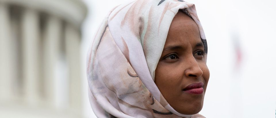 U.S. Rep. Ilhan Omar (D-MN) speaks at a press conference on the No Shame at School Act on June 19, 2019 in Washington, DC. (Stefani Reynolds/Getty Images)