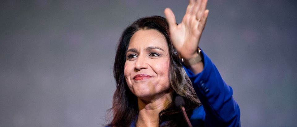 Democratic presidential candidate Rep. Tulsi Gabbard (R-HI) addresses the crowd during the 2019 South Carolina Democratic Party State Convention on June 22, 2019 in Columbia, South Carolina. (Sean Rayford/Getty Images)