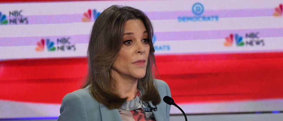 Democratic presidential hopeful US author Marianne Williamson speaks during the second Democratic primary debate of the 2020 presidential campaign season hosted by NBC News at the Adrienne Arsht Center for the Performing Arts in Miami, Florida, June 27, 2019. (SAUL LOEB/AFP/Getty Images)