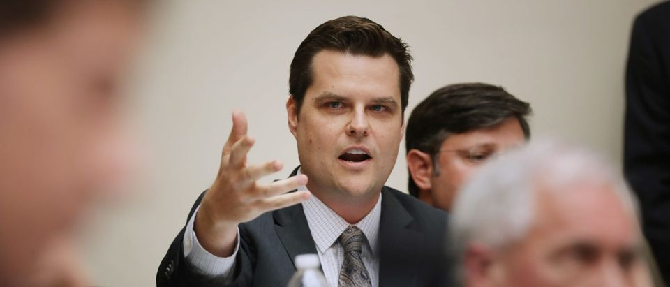 House Judiciary Committee member Rep. Matt Gaetz questions witnesses during a hearing about the Mueller Reporter in the Rayburn House Office Building on Capitol Hill June 10, 2019 in Washington, D.C. (Photo by Chip Somodevilla/Getty Images)