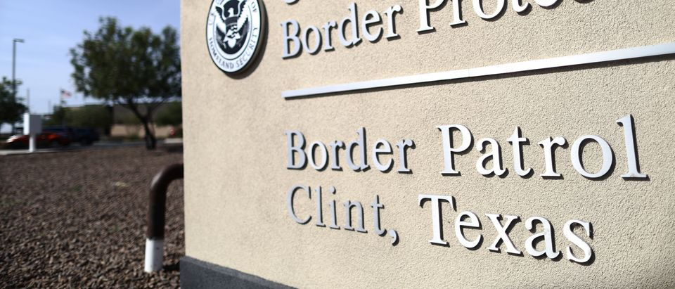 A sign is posted at the U.S. Border Patrol station where lawyers reported that detained migrant children had been held unbathed and hungry on June 26, 2019 in Clint, Texas. (Mario Tama/Getty Images)