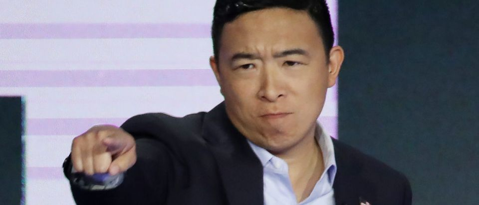 MIAMI, FLORIDA - JUNE 27: Former tech executive Andrew Yang reacts during the second night of the first Democratic presidential debate on June 27, 2019 in Miami, Florida. A field of 20 Democratic presidential candidates was split into two groups of 10 for the first debate of the 2020 election, taking place over two nights at Knight Concert Hall of the Adrienne Arsht Center for the Performing Arts of Miami-Dade County, hosted by NBC News, MSNBC, and Telemundo. (Photo by Drew Angerer/Getty Images)