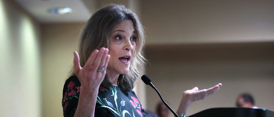Democratic presidential candidate and self-help author Marianne Williamson speaks to guests at the Rainbow PUSH Coalition Annual International Convention on July 1, 2019 in Chicago, Illinois. (Scott Olson/Getty Images)
