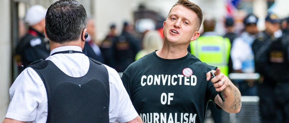 LONDON , UNITED KINGDOM - JULY 11: British far-right activist and former leader and founder of English Defence League (EDL), Tommy Robinson, whose real name is Stephen Yaxley-Lennon, arrives at the Old Bailey on July 11, 2019 in London, England. Tommy Robinson will be sentenced this morning after he was found to have committed contempt of court over a video he live-streamed on social media that featured defendants in a criminal trial. (Photo by Luke Dray/Getty Images)LONDON , UNITED KINGDOM - JULY 11: British far-right activist and former leader and founder of English Defence League (EDL), Tommy Robinson, whose real name is Stephen Yaxley-Lennon, arrives at the Old Bailey on July 11, 2019 in London, England. Tommy Robinson will be sentenced this morning after he was found to have committed contempt of court over a video he live-streamed on social media that featured defendants in a criminal trial. (Photo by Luke Dray/Getty Images)