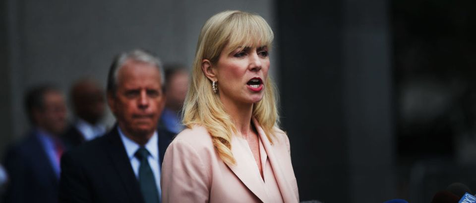 Attorney Sigrid Macawley, representing several alleged victims of fund manager Jeffrey Epstein, speaks to the media outside of a Manhattan court house after a bail hearing on sex trafficking charges for Epstein on July 18, 2019 in New York City.(Photo by Spencer Platt/Getty Images)