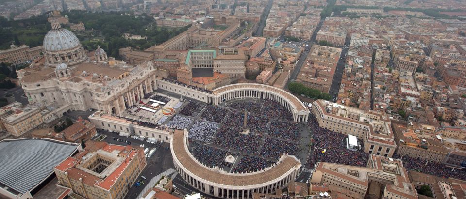 An aerial view of St. Peter's Square and Via della Conciliazione April 27, 2014 in Vatican City, Vatican. (Photo: Massimo Sestini/Italian National Police via Getty Images)