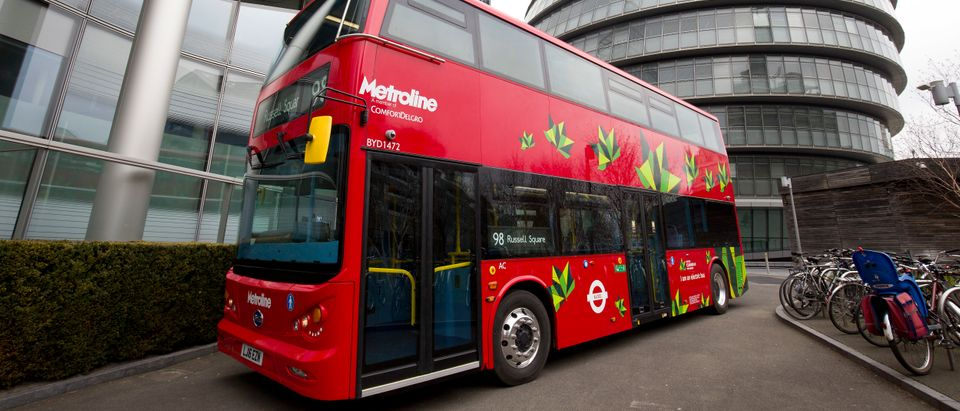 An electric London bus is pictured during a photocall to promote the world's first purpose-built fully electric double-deck bus, in London on March 15, 2016. An electric London bus is pictured during a photocall to promote the world's first purpose-built fully electric double-deck bus, in London on March 15, 2016. (Photo: JUSTIN TALLIS/AFP/Getty Images)