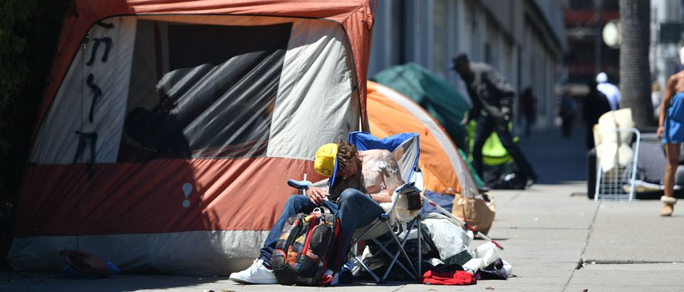 Homeless Man In Downtown San Francisco (Photo by Josh Edelson/AFP/Getty Images)