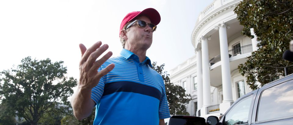 U.S. Sen. Rand Paul speaks on health care with members of the news media outside the South Portico of the White House after returning from a golf outing in Virginia with US President Donald J. Trump, October 15, 2017 in Washington, DC. (Michael Reynolds-Pool/Getty Images)