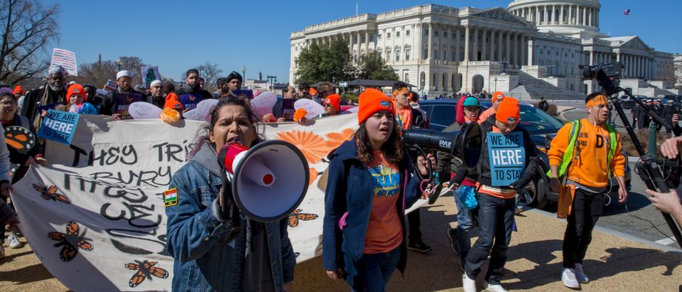 Pro DACA and Dreamer supporters protest in Washington, DC. (Photo by Tasos Katopodis/Getty Images for MoveOn.org)