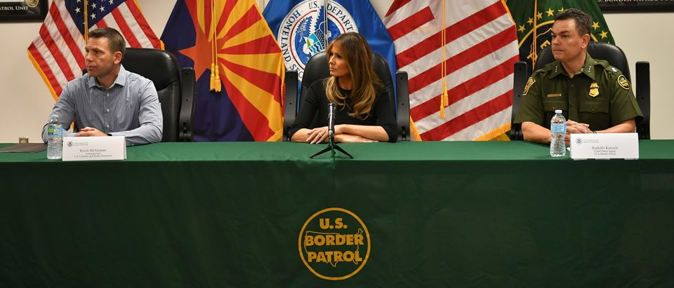 US First Lady Melania Trump takes part in a round-table discussion during a visit to a US Customs and Border Protection Facility in Tucson, Arizona. (Photo by MANDEL NGAN/AFP/Getty Images)