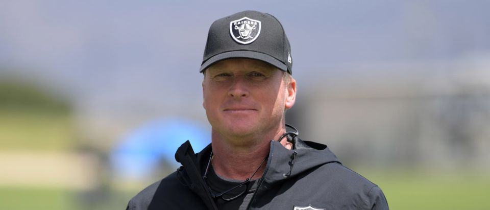 May 21, 2019; Alameda, CA, USA; Oakland Raiders coach Jon Gruden looks on during organized team activities at the Raiders practice facility. Mandatory Credit: Kirby Lee-USA TODAY Sports - via Reuters