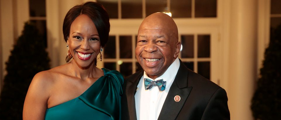 WASHINGTON, DC - FEBRUARY 11: Representative Elijah Cummings, a Democrat from Maryland, right, and Maya Rockeymoore Cummings arrive to a state dinner hosted by U.S. President Barack Obama and U.S. first lady Michelle Obama in honor of French President Francois Hollande at the White House on February 11, 2014 in Washington, DC. Obama and Hollande said the U.S. and France are embarking on a new, elevated level of cooperation as they confront global security threats in Syria and Iran, deal with climate change and expand economic cooperation. (Photo by Andrew Harrer-Pool/Getty Images)