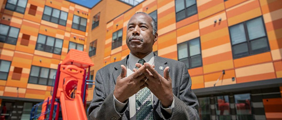 Housing and Urban Development Secretary Ben Carson spoke to the media after a small tour of the EcoVillage Apartments, a community of affordable housing.