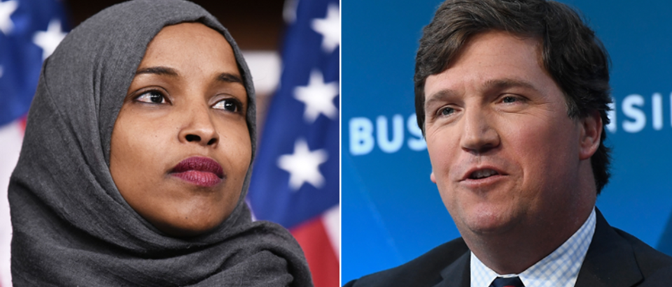 Ilhan Omar (Mandel Ngan, AFP, Getty Images) Tucker Carlson (Roy Rochlin, Getty Images)