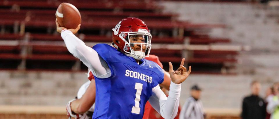 Apr 12, 2019; Norman, OK, USA; Oklahoma Sooners quarterback Jalen Hurts (1) passes the ball during the Oklahoma Spring Football game at Gaylord Family Oklahoma Memorial Stadium. Mandatory Credit: Alonzo Adams-USA TODAY Sports - via (Reuters)