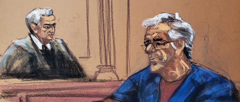 Jeffrey Epstein looks on during a bail hearing in his sex trafficking case, in this court sketch in New York