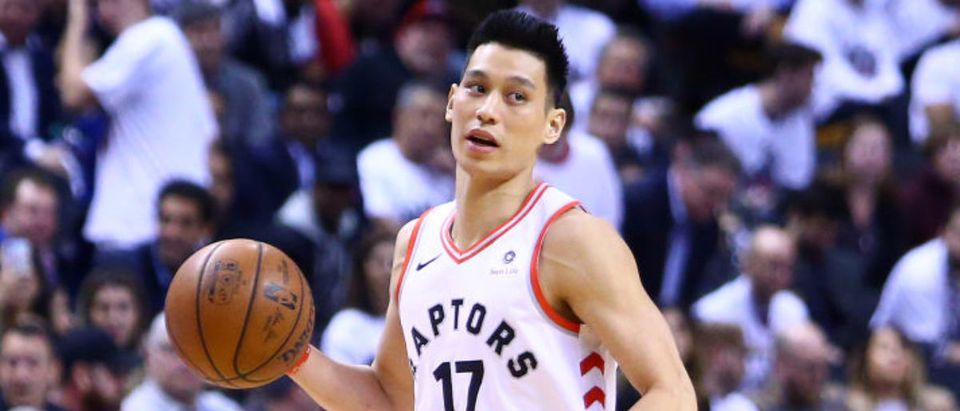 TORONTO, ON - MAY 07: Jeremy Lin #17 of the Toronto Raptors dribbles the ball during Game Five of the second round of the 2019 NBA Playoffs against the Philadelphia 76ers at Scotiabank Arena on May 7, 2019 in Toronto, Canada. (Photo by Vaughn Ridley/Getty Images)