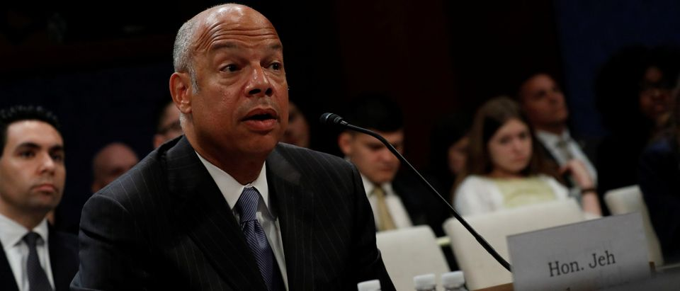 Former U.S. Secretary of Homeland Security Jeh Johnson testifies about Russian meddling in the 2016 election before the House Intelligence Committee on Capitol Hill in Washington