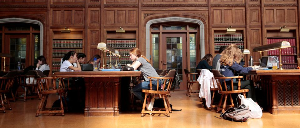 Students study in the law library at the University of Michigan in Ann Arbor