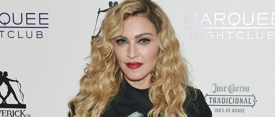 Singer Madonna arrives at the Marquee Nightclub at The Cosmopolitan of Las Vegas to host an after party for her Rebel Heart Tour concert stop on October 25, 2015 in Las Vegas, Nevada. (Photo by Ethan Miller/Getty Images for ABA)