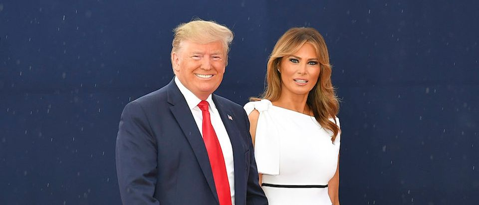 """US President Donald Trump and First Lady Melania Trump arrive at the """"Salute to America"""" Fourth of July event at the Lincoln Memorial in Washington, DC, July 4, 2019. (Photo credit: MANDEL NGAN/AFP/Getty Images)"""