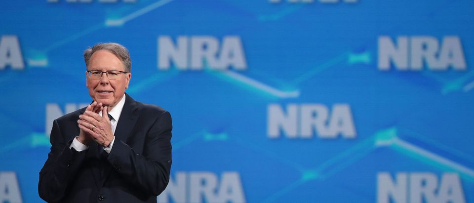 Wayne LaPierre, NRA vice president and CEO, speaks to guests at the NRA-ILA Leadership Forum at the 148th NRA Annual Meetings & Exhibits on April 26, 2019 in Indianapolis, Indiana. (Photo by Scott Olson/Getty Images)