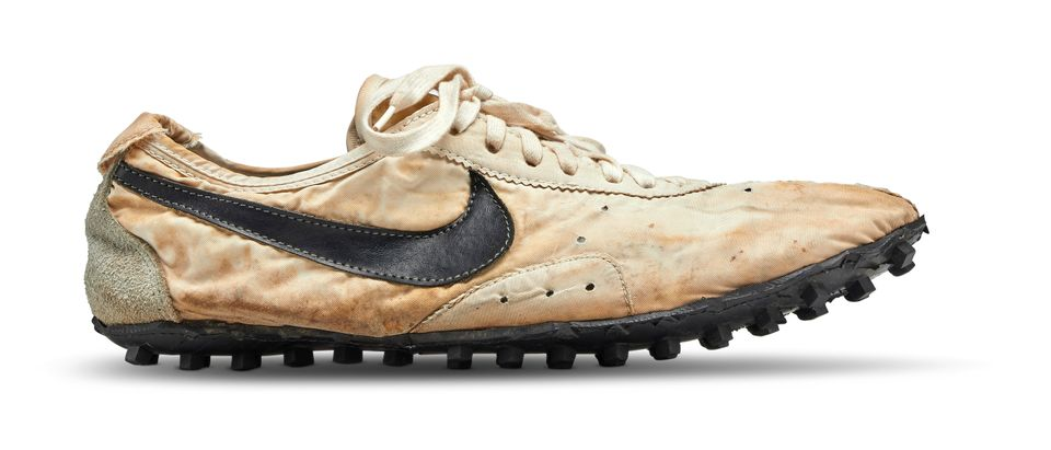 """The Nike """"Moon Shoe"""" one of only about 12 pairs of the handmade running shoe designed by Nike co-founder and legendary Oregon University track coach Bill Bowerman, is seen in this Sotheby's image released on July 11, 2019. Courtesy Sotheby's/Handout via REUTERS"""