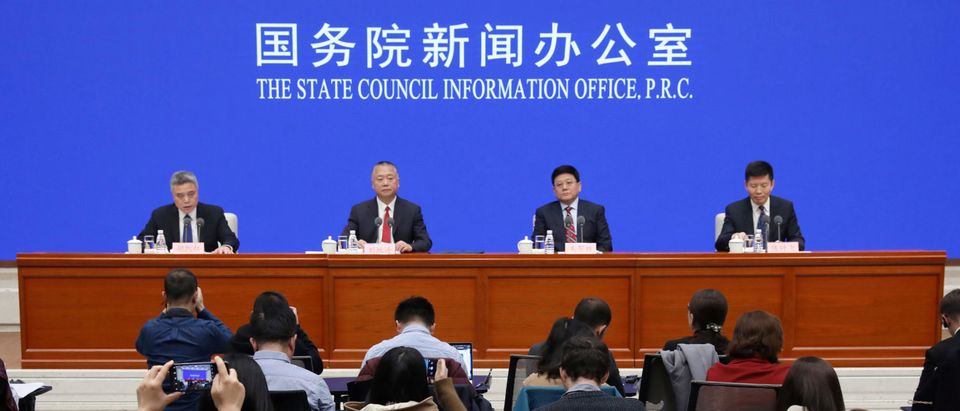 Officials of Ministry of Public Security, National Health Commission and National Medical Products Administration attend a news conference on fentanyl-related substances control, in Beijing