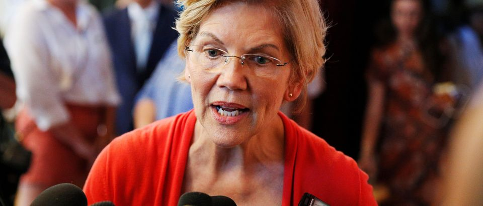 Democratic 2020 U.S. presidential candidate Sen. Elizabeth Warren speaks to members of the media during a town hall at the Peterborough Town House in Peterborough, New Hampshire, U.S., July 8, 2019. REUTERS/Elizabeth Frantz