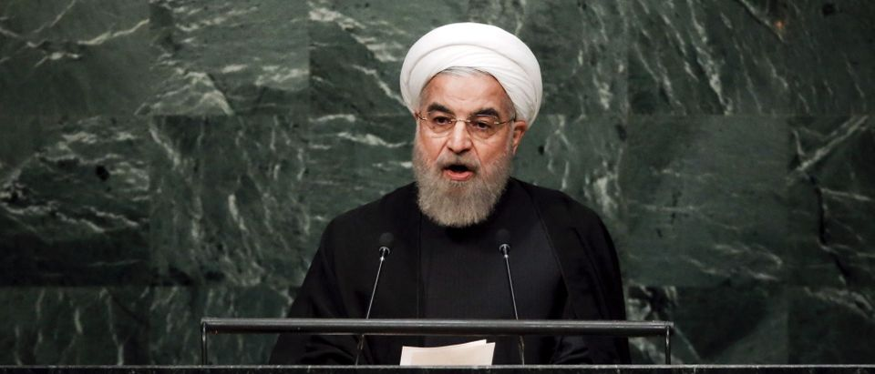 Iran's President Hassan Rouhani addresses a plenary meeting of the United Nations Sustainable Development Summit 2015 at the United Nations headquarters in Manhattan, New York September 26, 2015. More than 150 world leaders are expected to attend the three day summit to formally adopt an ambitious new sustainable development agenda, according to a U.N. press statement. REUTERS/Carlo Allegri