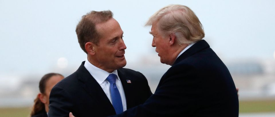 U.S. President Donald Trump greets Ted Budd, Republican candidate from North Carolina's 13th district, in Charlotte, North Carolina. (REUTERS/Kevin Lamarque)