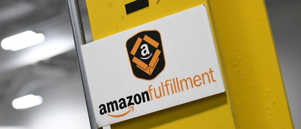 Amazon fulfillment logo is seen at fulfillment center in Baltimore