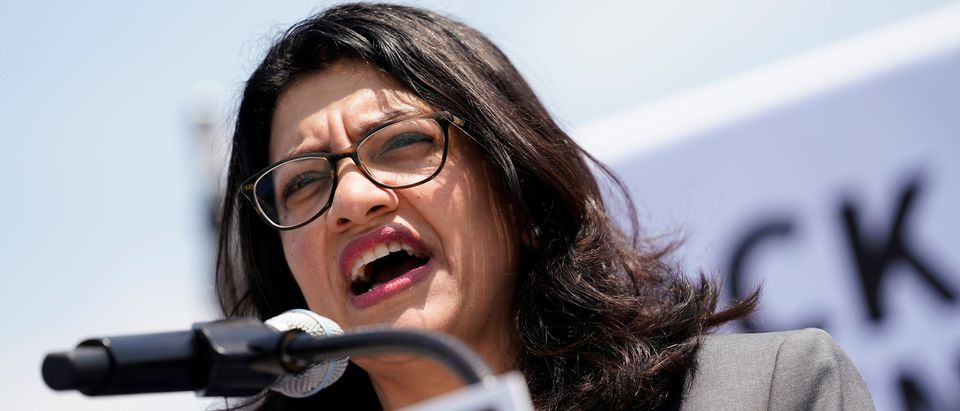 U.S. Rep. Rashida Tlaib (D-MI) speaks at a rally calling on Congress to censure President Donald Trump on Capitol Hill