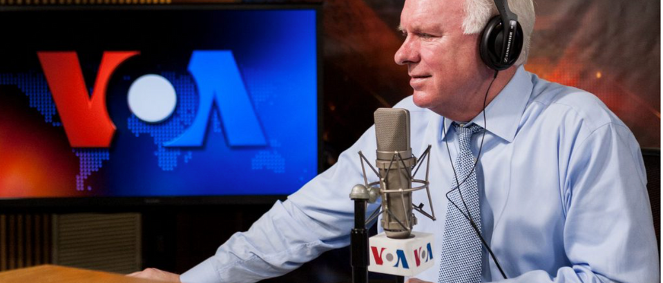 John Lansing, USAGM's chief executive, speaks on a radio show. (Screenshot/USAGM.GOV)