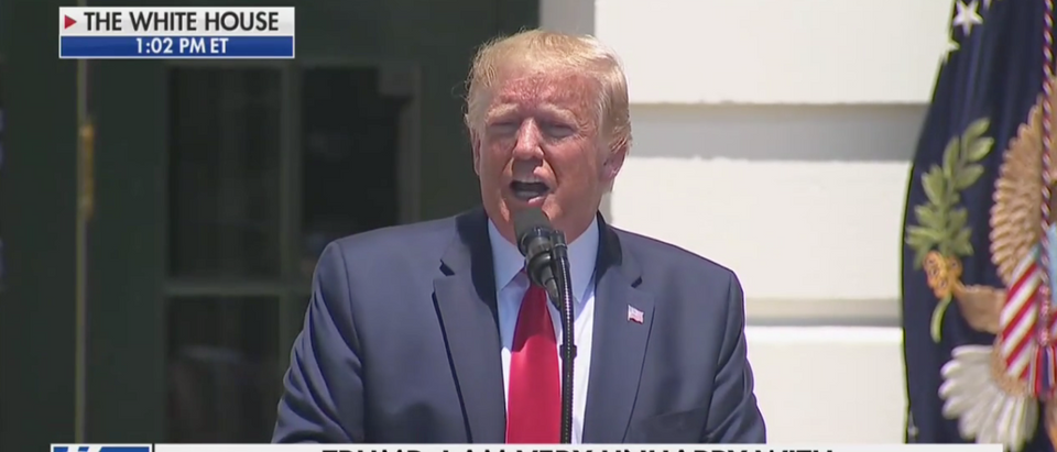 "President Donald Trump takes questions at ""Made in America"" event at the White House (Fox News Screenshot: July 15, 2019)"