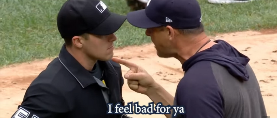 Yankees Manager Aaron Boone argues with MLB umpire Brennan Miller. (YouTube/Screenshot/Public - User: Jomboy Media)