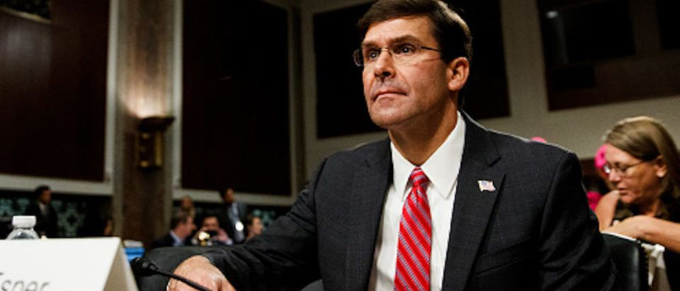 Secretary of Defense nominee Mark Esper testifies before the Senate Armed Services Committee during his confirmation hearing on Capitol Hill in Washington D.C.