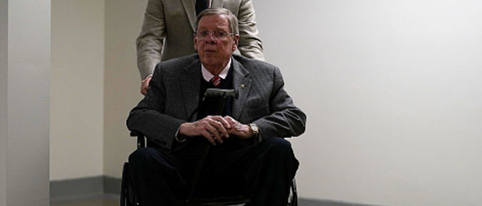 Sen. Johnny Isakson (R-GA) passes through the basement of the U.S. Capitol prior to a Senate Republican Policy Luncheon January 17, 2018 in Washington, DC