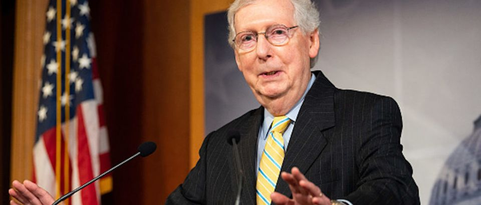 Senate Majority Leader Mitch McConnell (R-KY) speaking at a press conference at the US Capitol in Washington, DC (Photo by Michael Brochstein/SOPA Images/LightRocket via Getty Images)