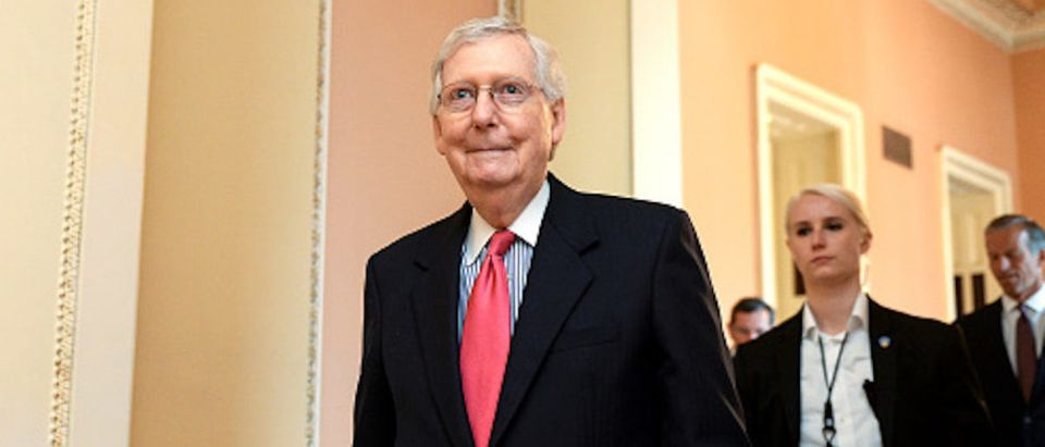 Senate Majority Leader Mitch McConnell, R-Ky., leaves a weekly policy luncheonon Capitol Hill on Tuesday July 16, 2019