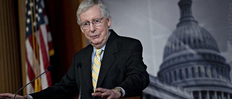 Senate Majority Leader Mitch McConnell, a Republican from Kentucky, speaks during a news conference at the U.S. Capital in Washington, D.C.
