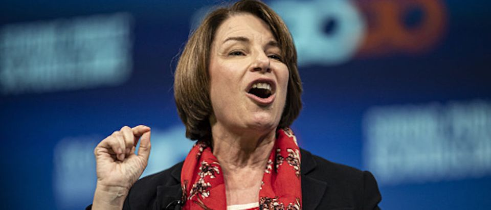 Senator Amy Klobuchar, a Democrat from Minnesota and 2020 presidential candidate, speaks during the National Education Association (NEA) #StrongPublicSchools Presidential Forum in Houston, Texas