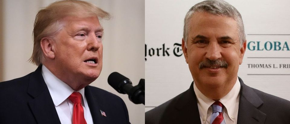 President Donald Trump criticized Thomas Friedman of The New York Times on Twitter July 19, 2019. Suhaimi Abdullah/Getty Images for International New York Times and Chip Somodevilla/Getty Images