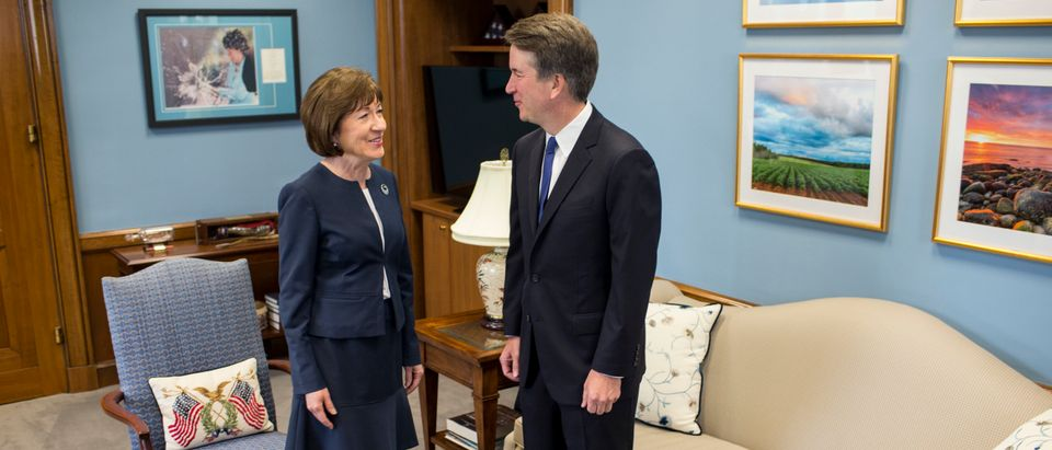 Sen. Susan Collins (R-ME) meets with Justice Brett Kavanaugh in her Capitol Hill office on August 21, 2018. (Zach Gibson/Getty Images)