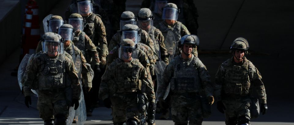 U.S. military troops return from a test deployment with U.S. Customs and Border Protection agents after conducting a large-scale operational readiness exercise at the San Ysidro port of entry with Mexico in San Diego, California, U.S., Jan. 10, 2019. REUTERS/Mike Blake